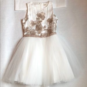 Girls Bronze and White Tulle Party Dress size 10